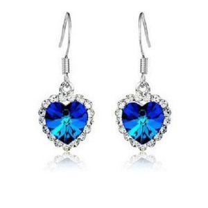 PREVIEW Titanic Royal Blue Heart Dangle Earrings